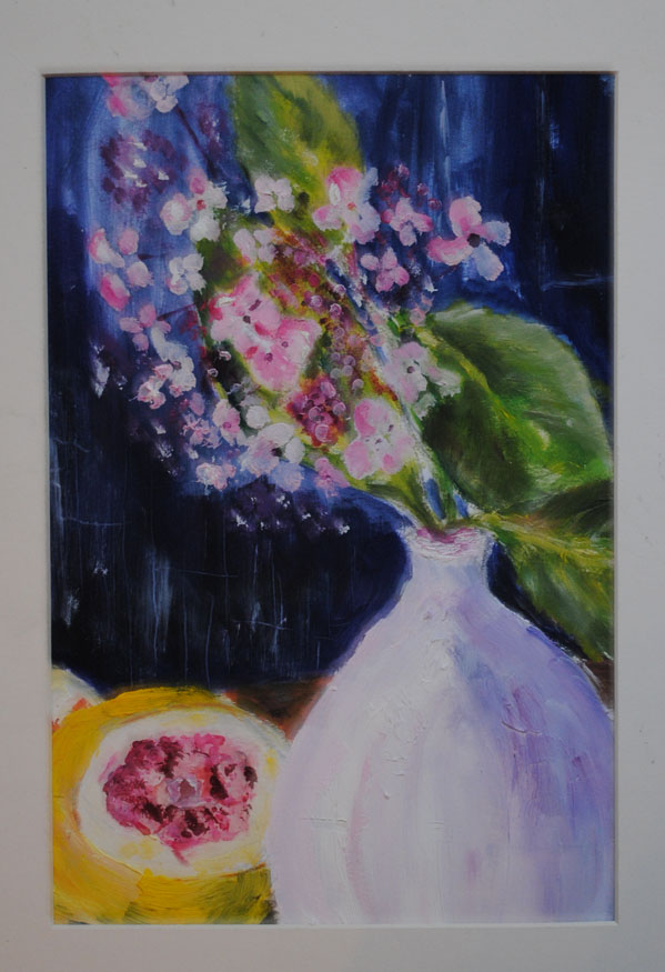 Flowers in lilac vase